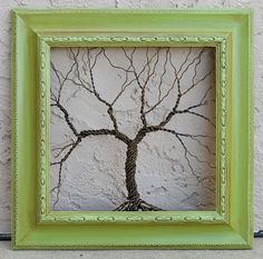 Original Art Large Tree Abstract Sculpture ... Wire tree on vintage ornate shabby style salvaged green frame