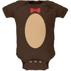 This adorable cartoon teddy bear costume will be a huge hit this Easter or Halloween. This Animal World design is printed on a high-quality 100% cotton, soft, short sleeve baby one piece with a snap c