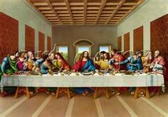 The Lords Supper painted by Leonardo DaVinci in the 15th Century.  The mural oil painting hangs in the Santa Maria delle Grazi Church in Milan Italy