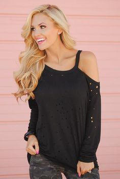 Live on the Edge Distressed Top - Black