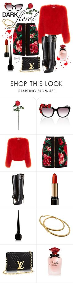 """In Bloom"" by barbmama ❤ liked on Polyvore featuring Nearly Natural, Anna-Karin Karlsson, Alexander McQueen, Balmain, Versace, Lancôme, Christian Louboutin, Chanel, Dolce&Gabbana and polyvorecontest"