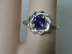 1ct natural purple Amethyst flower ring 925 sterling silver size 7 USA   #Solitaire