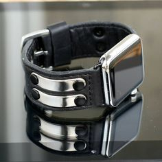 Apple Watch Strap Handmade Vintage Black. Lugs Adapter by dganin
