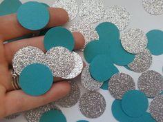 Teal and Silver Glitter Party Confetti - Circle Confetti - Die Cut - Aqua - Decor - Party - Wedding Decor - Party Decor - Bridal on Etsy, $9.00