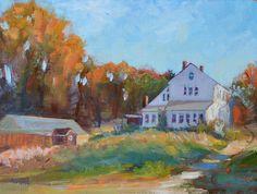 House on farm Fall painting Barn painting Original