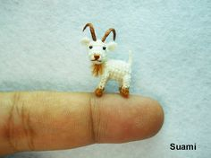 Mini Miniature White Goat - Amigurumi Crochet Tiny Doll Miniature Animals - Made To Order