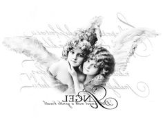 Vintage angels black/white digital collage p1022 transfer test FREE to use