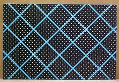 """FABRIC CORK BULLETIN BOARDS. Black with white polka dots with turquoise crisscross message ribbons. 24"""" x 36"""" $130.06; or, YOUR choice of over 1000 fabrics, or YOUR fabric; four standard sizes or custom size; with or without message ribbons; and lots more at  www.PushPinsAndFabricCorkBoards.com,  Category: FABRIC CORK BULLETIN BOARDS, Subcategory:BLACK. Also matching DECORATIVE PUSH PINS. #fabriccorkbulletinboards #decorativepushpins #fabricwallart #interiordesigners"""