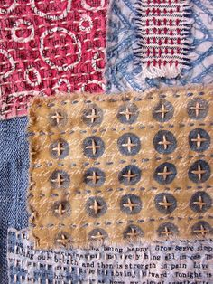 Printing with Gelli Arts®: DIY 'Hipster Chic' Gelli® Printed Patches! Sashiko Embroidery, Japanese Embroidery, Embroidery Stitches, Fabric Painting, Fabric Art, Elephant Quilt, Hipster Chic, Visible Mending, Homemade Quilts