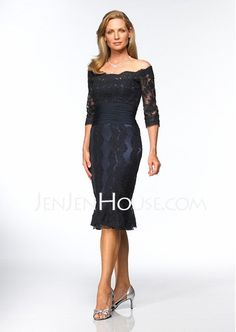 Mother of the Bride Dresses - $136.99 - Sheath Off-the-Shoulder Knee-Length Charmeuse Mother of the Bride Dresses With Lace (008004176) http://jenjenhouse.com/Sheath-Off-the-shoulder-Knee-length-Charmeuse-Mother-Of-The-Bride-Dresses-With-Lace-008004176-g4176