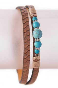 Wrap Around Stone Beads Leather Bracelet