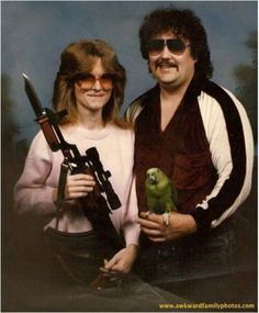 So much, so wrong. The bird, I can understand, the gun I can understand, but the porn star?