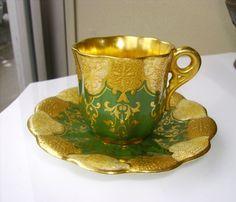 Antique Coalport Porcelain Demitasse and Gold Design Jeweled . Cup And Saucer Set, Tea Cup Saucer, Green Tea Cups, Antique Tea Cups, China Tea Cups, Tea Art, Tea Service, My Cup Of Tea, Vintage Tea