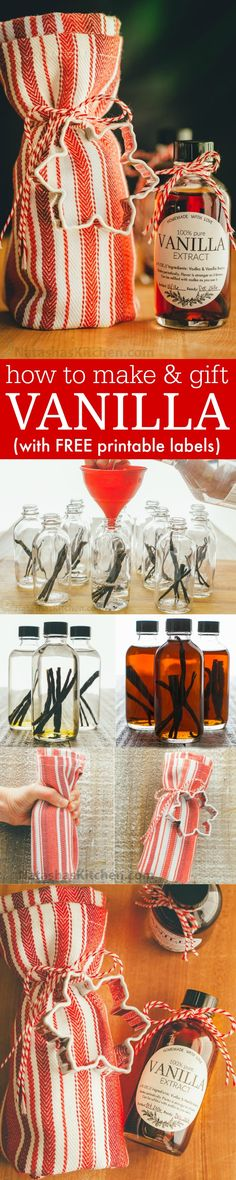 Vanilla Extract Recipe - How to Make Vanilla Extract Learn how to make vanilla extract with 2 ingredients! Homemade vanilla extract will be your secret ingredient for baking. The best vanilla extract recipe! Jar Gifts, Food Gifts, Noel Christmas, Christmas Treats, Vanilla Extract Recipe, Do It Yourself Baby, Homemade Christmas Gifts, Handmade Christmas, Holiday Crafts