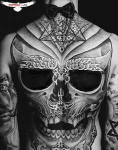 Full chest or full back?? tattoo. Geometric skull