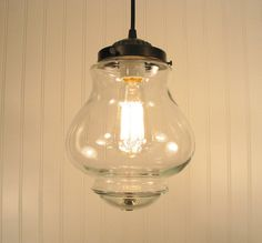 Westbrook III.  Clear Mixed Media PENDANT Light with Edison Bulb. $109.00, via Etsy.