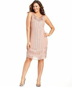 Adrianna Papell Plus Size Dresse with Shingles