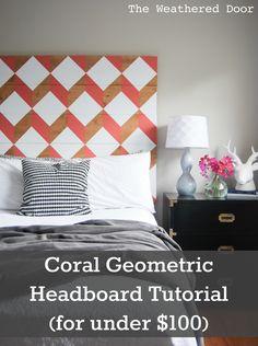 coral geo headboard  pin WD b-26