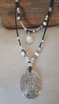 1d05fad6a587 Doble con cuentas collar de cuero de mujer colgante Aretes De Cristal