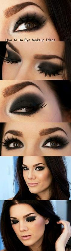Maquillaje de noche con ahumado negro y marrón