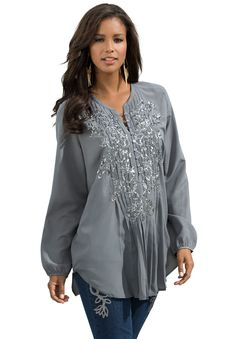 Plus Size Denim 24/7® Sequin Floral Tunic.