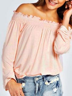 Off Shoulder Long Sleeve Top in Pink- More colors available! #SimplyBKC #Spring #pastel