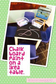 Chalkboard paint on an ikea table!