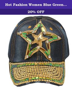 Hot Fashion Women Blue Green Denim Gem Studded Star Applique Sun Hat Cap. This denim stone adorned cap sun hat from Hot Fashion is great for casual wear. The cap features star in star applique with green and gold gems and rhinestones attached and studded brim. Shimmery accents add a feminine touch to this sporty piece.