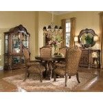 $2,704.00  AICO Furniture - Windsor Court 5 Piece Round Dining Table Set in Vintage Fruitwood - 70004-5PC-Set