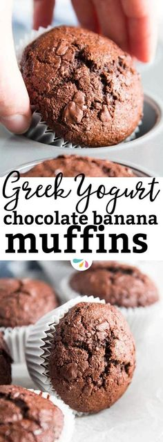 These healthier double chocolate banana muffins are loaded with extra mashed bananas, dark chocolate chips and whole wheat for healthy goodness. A short ingredient list and easy instructions make them quick and simple to assemble. Sneak them into a lunch box or make them for a special breakfast or weekend brunch. Thanks to all the banana they are incredibly moist. If you want to prep them ahead, they can easily go into the freezer! | #healthy #healthybreakfast #muffins #mealprep #cleaneating