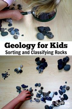 Sorting and classifying rocks is an easy STEM activity for kids. Learn about earth science with this simple geology lesson for toddlers, preschoolers, and grade school students. A fun forest school learning activity! Nature Activities, Science Activities For Kids, Kindergarten Science, Science Experiments Kids, Science Lessons, Teaching Science, Stem Activities, Science Projects, Science Classroom