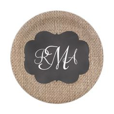 Rustic Burlap Party Paper Plates In Any Color | Wedding Custom PAPER ...
