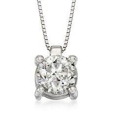 1.00 Carat Diamond Solitaire Pendant Necklace In 18kt White Gold. 17""