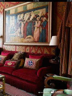 Alidad, A London interior designer accepting commissions for domestic and commercial project, with richly decorated walls and red pillows and rich fabrics in his London home Red Couch Pillows, Gold Interior, Interior Design, Deep Couch, Classic Living Room, Fabric London, Living Room Colors, Living Rooms, Red Rooms