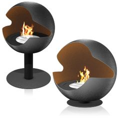 Ethanol fireplace from Vauni, moves around 360 degrees, looks fantastic and is relatively good for the environment.