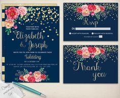 Gold Glitter Wedding Invitation,Printable,Chic Wedding Invitation Suite,Floral…
