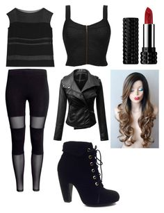 """Vampire Academy Rose Hathaway Battle Outfit"" by juliadonda ❤ liked on Polyvore featuring Ralph Lauren Black Label, BKE, Bamboo and Kat Von D"