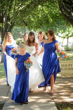 bridesmaids, blue dresses Wedding at Arlington Heights United Methodist and The Fort Worth Club