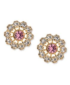 Betsey Johnson Earrings, Gold-tone Pink Crystal Stud - Fashion Earrings - Jewelry & Watches - Macy's