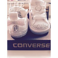 3b04f7a6c220 Converse baby girl infant toddler swarovski crystal sneakers white pink bow  flower girl first birthday genuine