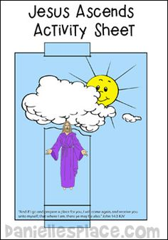Jesus Ascends Activity Sheet for Sunday School www.daniellesplace.com