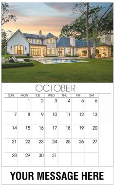 Luxury Wall Calendar October 2018