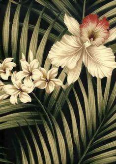 Fern Black Tropical Hawaiian orchid & plumeria flowers, cotton barkcloth upholstery fabric.