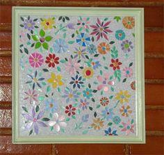 Esse quadro é de mosaico feito com pedacinhos de embalagens de plástico. Maravilha da Cida Rodrigues.    Contato da artesã: cida_03@yahoo.com.br