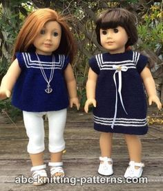 ABC Knitting Patterns - American Girl Doll Sailor Dress or Tunic Knitting Dolls Clothes, Crochet Doll Clothes, Girl Doll Clothes, Girl Dolls, Ag Dolls, Barbie Clothes, Knitted Doll Patterns, Doll Dress Patterns, Knitted Dolls