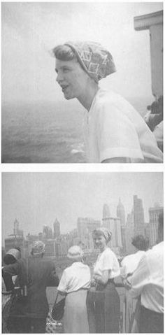 Plath sailing into New York harbour, 1957.