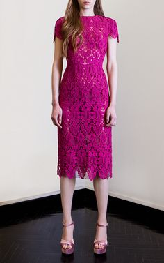 Loom Guipure Lace Wiggle Dress by COSTARELLOS for Preorder on Moda Operandi