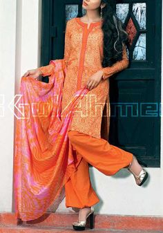 Buy Orange Printed Cotton Lawn Dress by Gul Ahmed Cotton Lawn Collection Vol.II 2015.