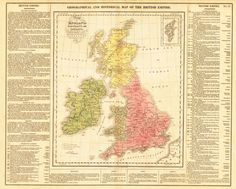 High Resolution Image GEOGRAPHICAL AND HISTORICAL MAP OF THE BRITISH EMPIRE. Map of England , Scotland and Ireland, indicating the Places rendered Celebrated by Battles or Seiges: Intended for the Elu