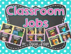 CLASSROOM JOBS IN BRIGHT POLKA DOT & CHALKBOARD AND EDITABLE JOB CARDS - TeachersPayTeachers.com